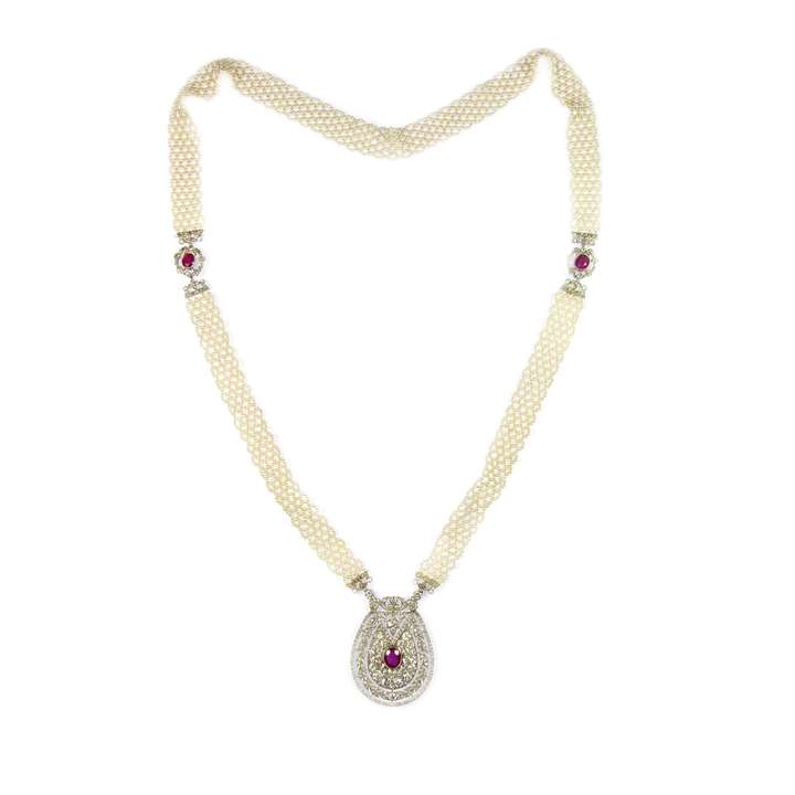 Edwardian Burma ruby, diamond and seed pearl pendant sautoir necklace