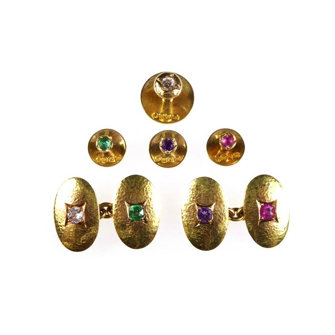 Edwardian gold and acrostic gem set gentleman's matched dress set the links by C D Saunders & J F H Shepherd, the studs by Swan Bros., the gem stones spelling out 'DEAR' | MasterArt