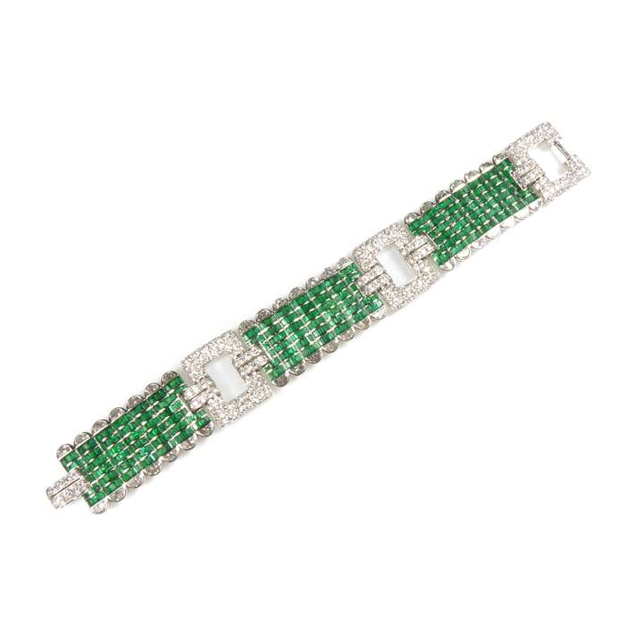 Emerald and diamond broad articulated strap bracelet