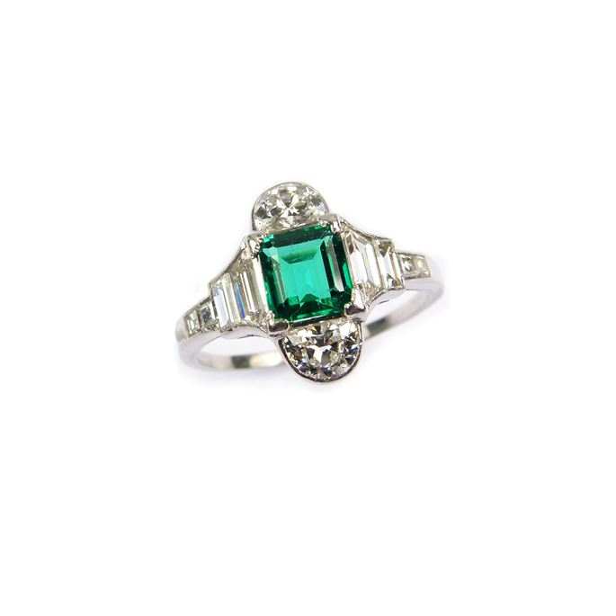 Emerald and diamond geometric cluster ring | MasterArt