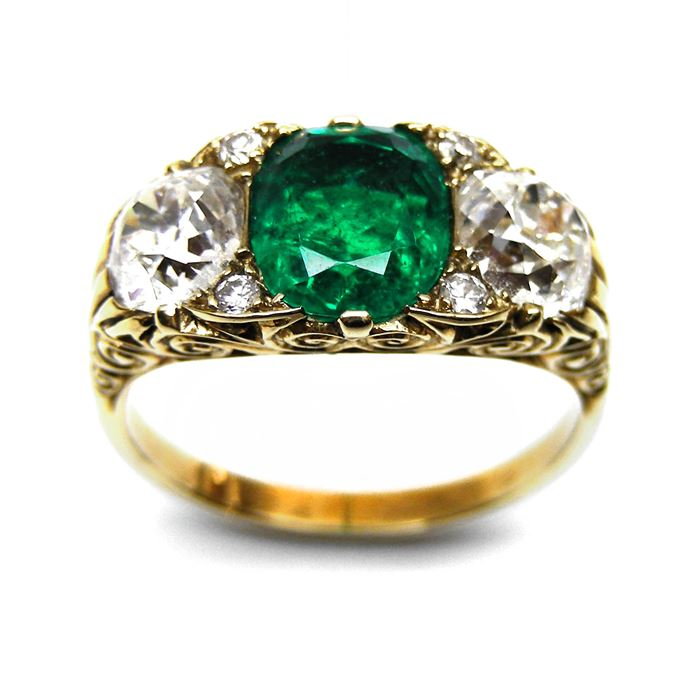 Emerald and diamond three stone carved gold half hoop ring | MasterArt
