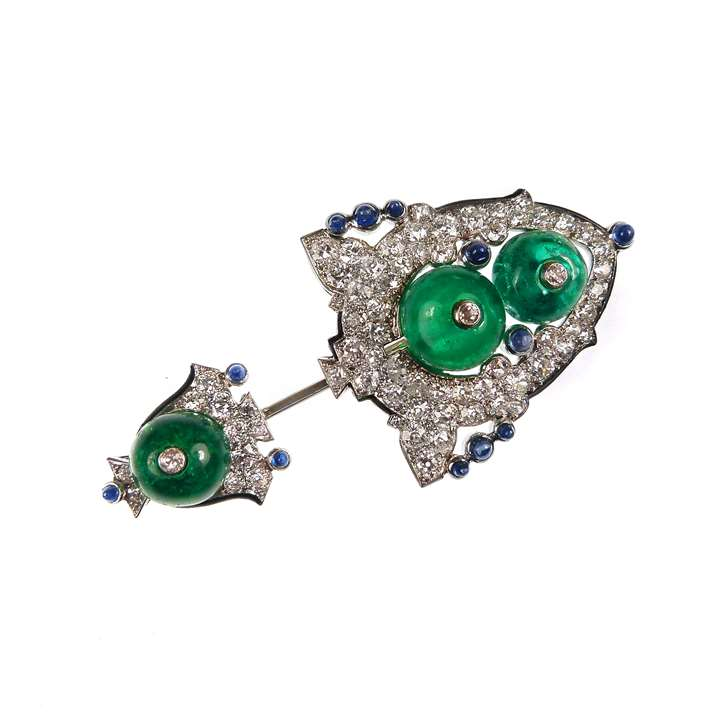 Emerald bead, diamond and sapphire jabot pin formerly owned by Mrs George G Moore
