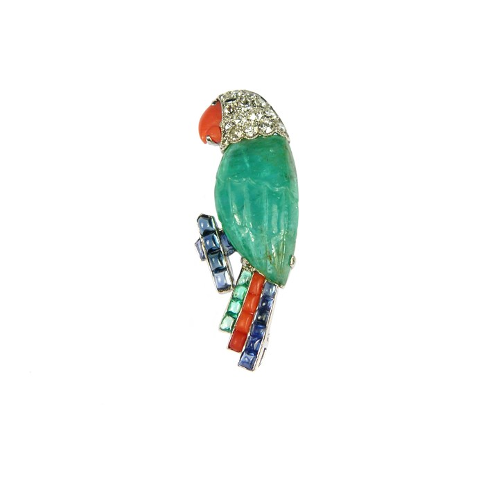 Emerald, diamond and gem set parrot brooch
