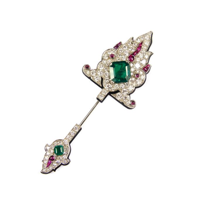Cartier - Emerald, ruby, diamond and black enamel jabot pin of Persianesque design | MasterArt