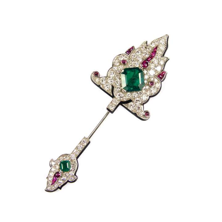 Emerald, ruby, diamond and black enamel jabot pin of Persianesque design