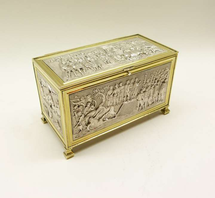 Empire French parcel gilt coffer form casket by Louis Ruschmann