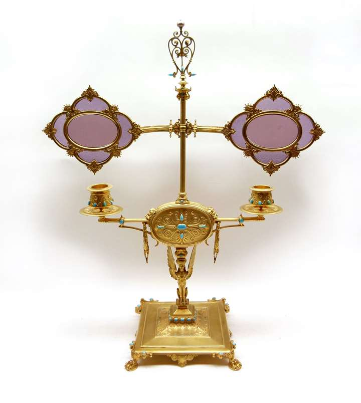 Empire French silver gilt library lamp