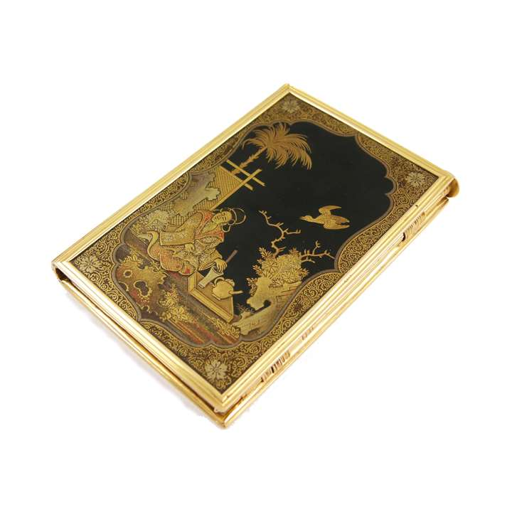 French Regency gold mounted lacquer aide memoire
