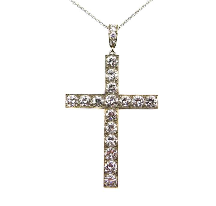 French diamond cross pendant