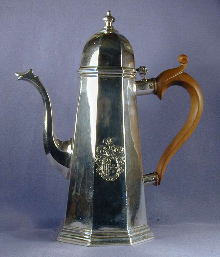 George I silver octagonal coffee pot