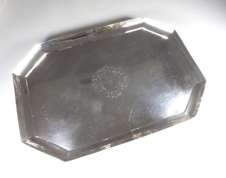 George I silver tray by Francis Plymley of cut-corner rectangular form