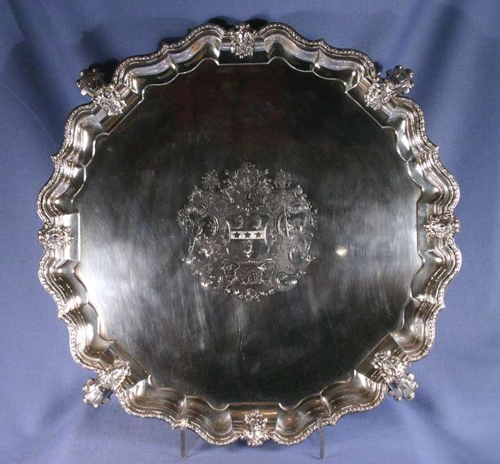 George II silver salver by Simon Pantin II