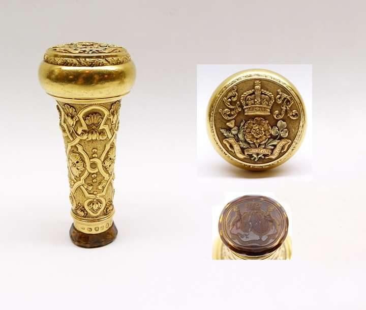 George III gold Staff of Office handle with citrine seal end