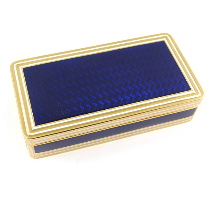 Peter Delauney & Giles Loyer - George III gold and blue guilloche enamel rectangular box | MasterArt