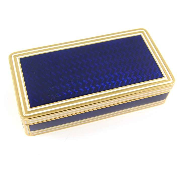 George III gold and blue guilloche enamel rectangular box