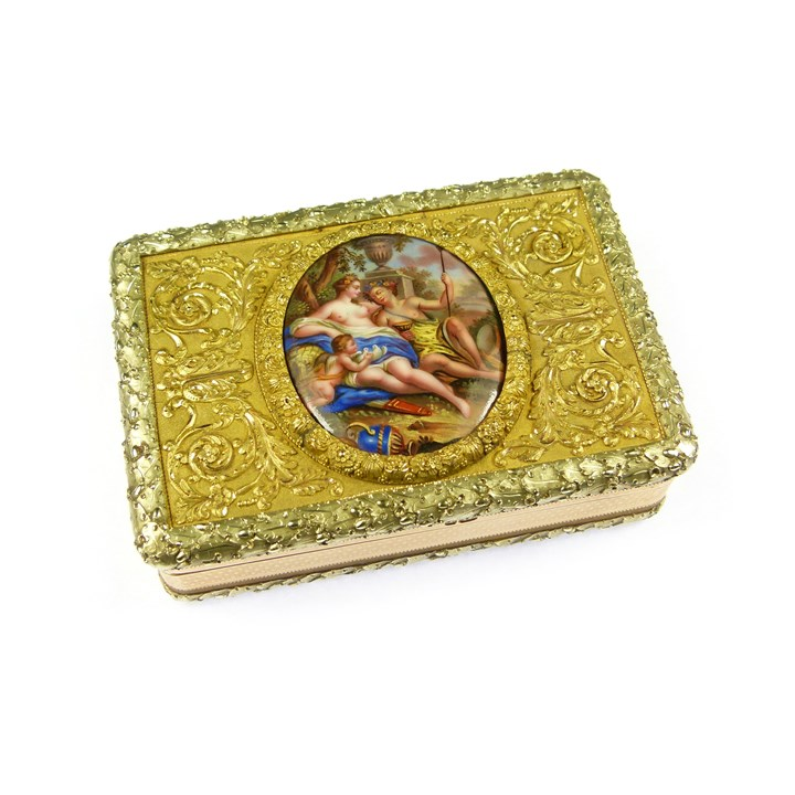 George III rectangular two colour gold and enamel miniature box