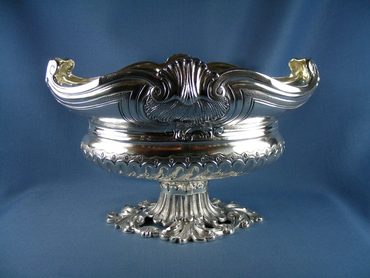 George III silver oval fruit bowl