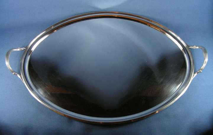 George III silver oval two handled tray