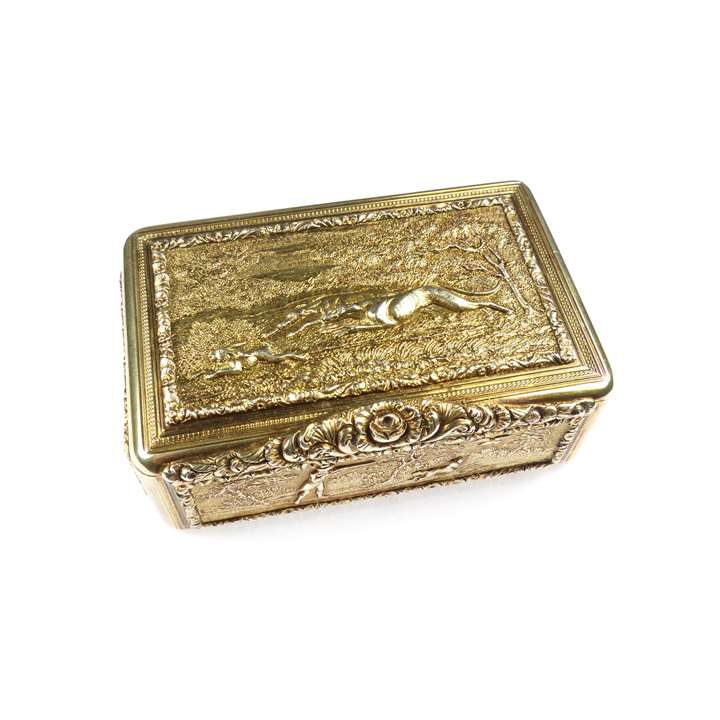 George IV silver gilt rectangular box with hunting scenes