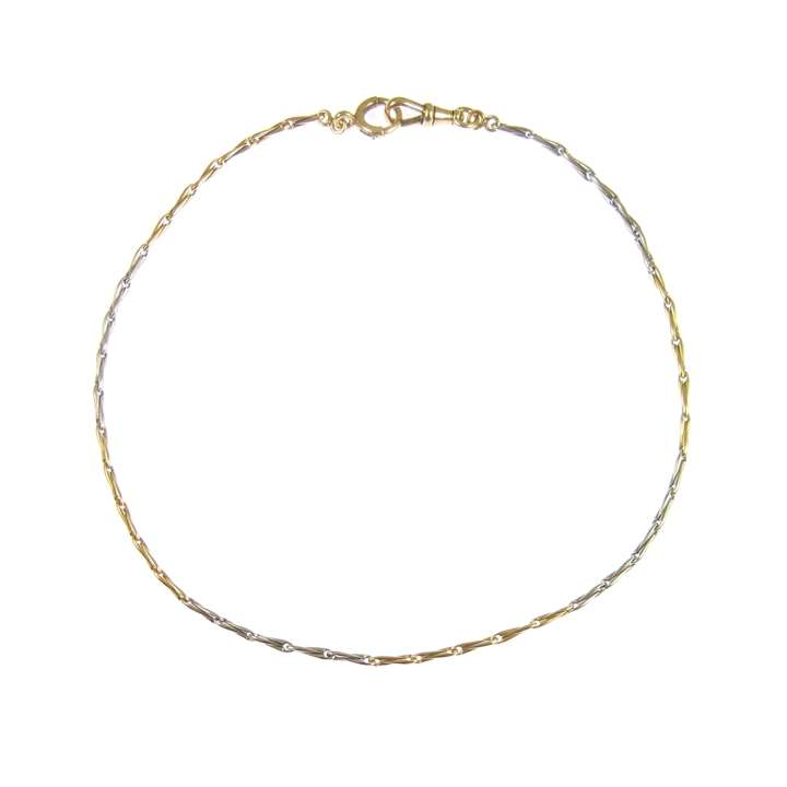 Gold and platinum chain necklace