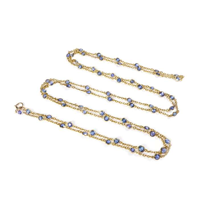 Gold and spectacle set sapphire chain necklace,
