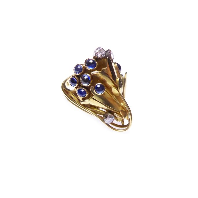Gold, cabochon sapphire and diamond floral ring, | MasterArt
