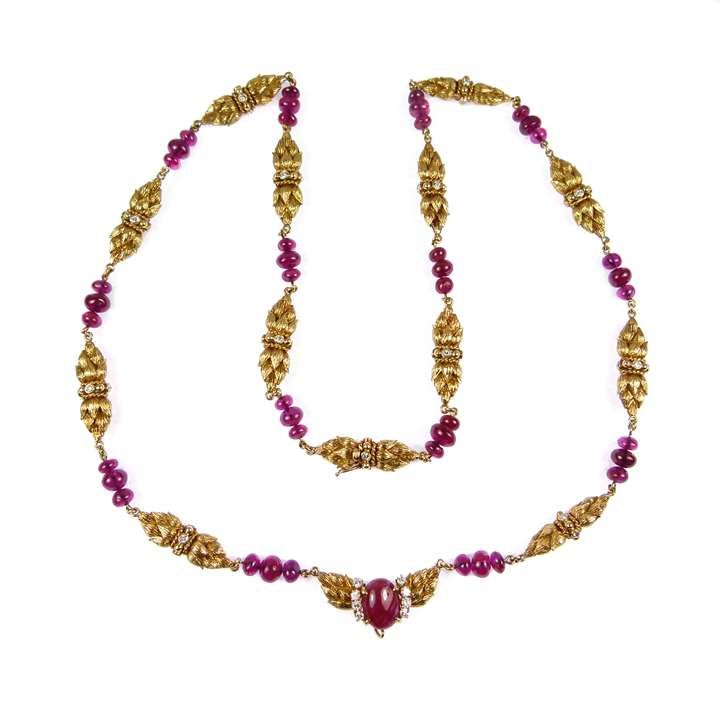 Gold, ruby and diamond necklace by Van Cleef & Arpels,