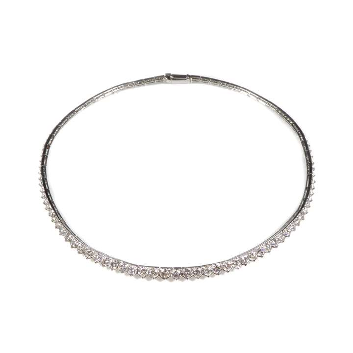 Graduated diamond line collar necklace