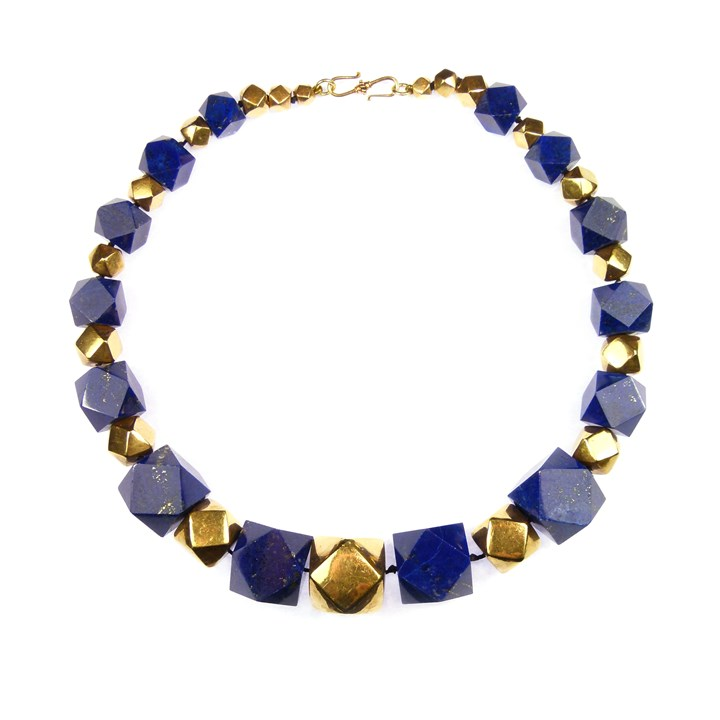Graduated lapis and gold geometric bead necklace