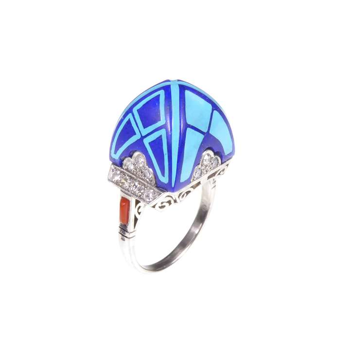 Lapis lazuli, enamel and gem set domed 'Archer' style ring