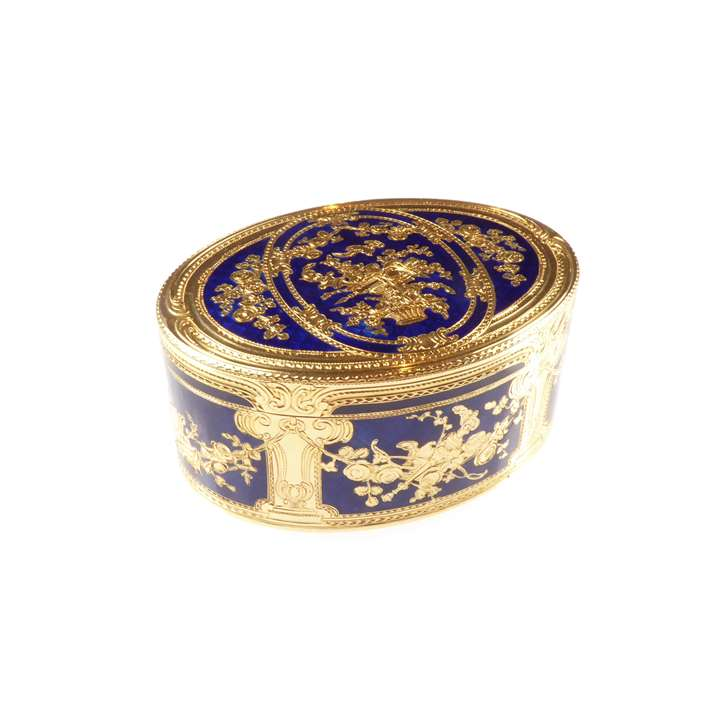 Large 18th century German royal blue enamel and gold oval box