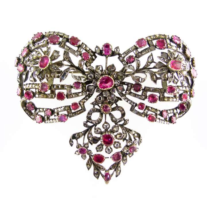 Late 18th century ruby and rose cut diamond openwork bow brooch
