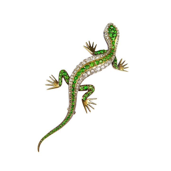 Large 19th century demantoid garnet and diamond lizard brooch, possibly French
