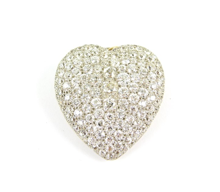 Large antique diamond heart brooch-pendant