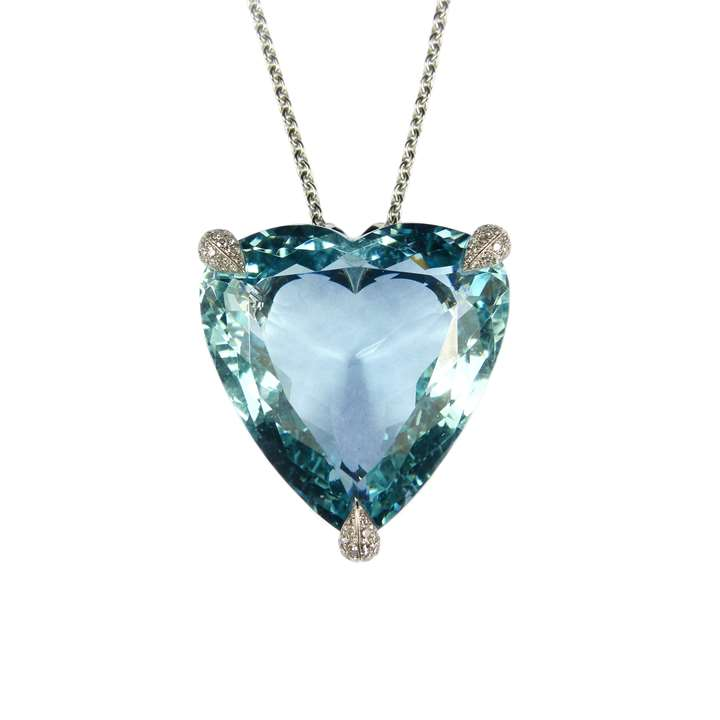 Large heart shaped aquamarine and diamond pendant necklace