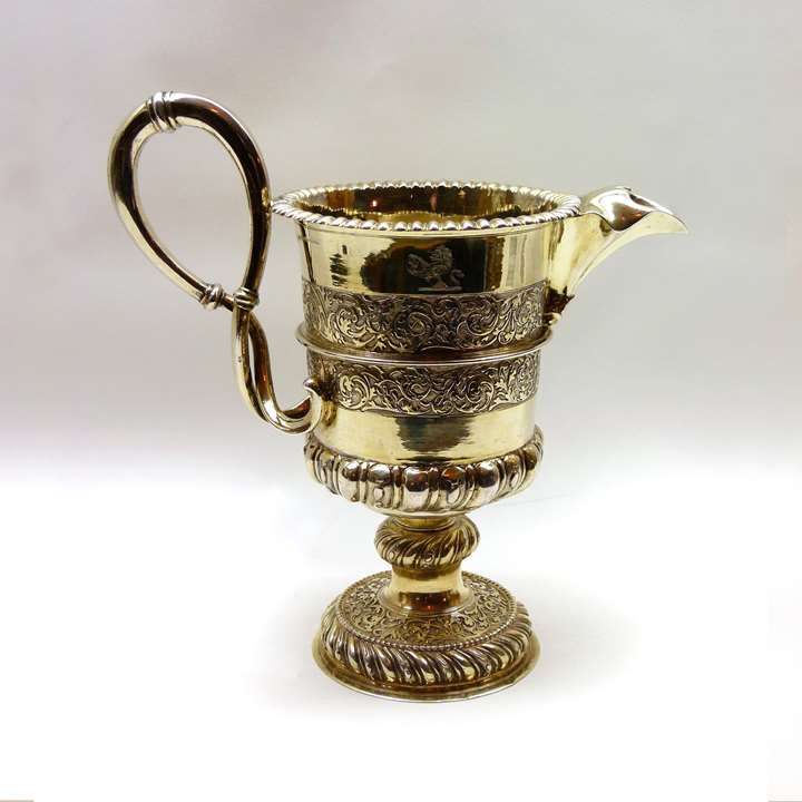 Large silver-gilt embossed ewer