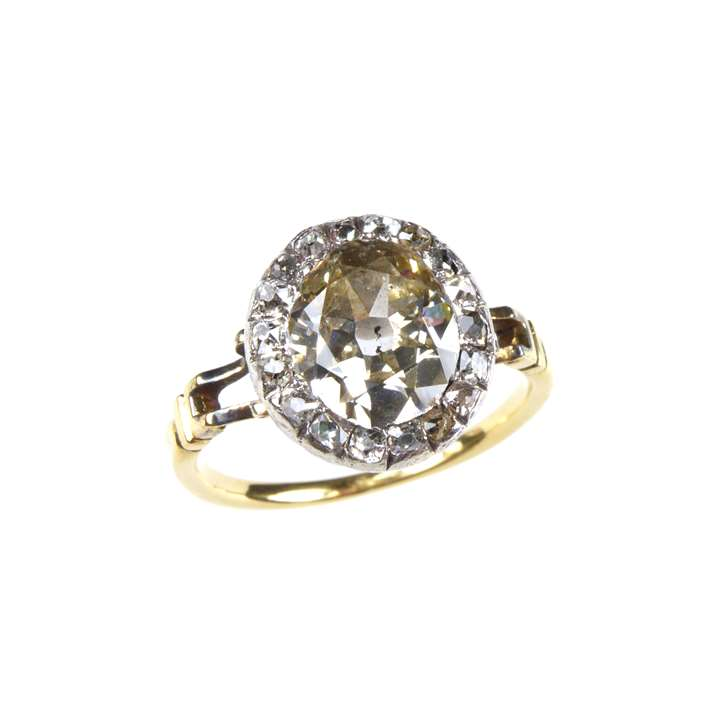 Late 18th century diamond oval cluster ring