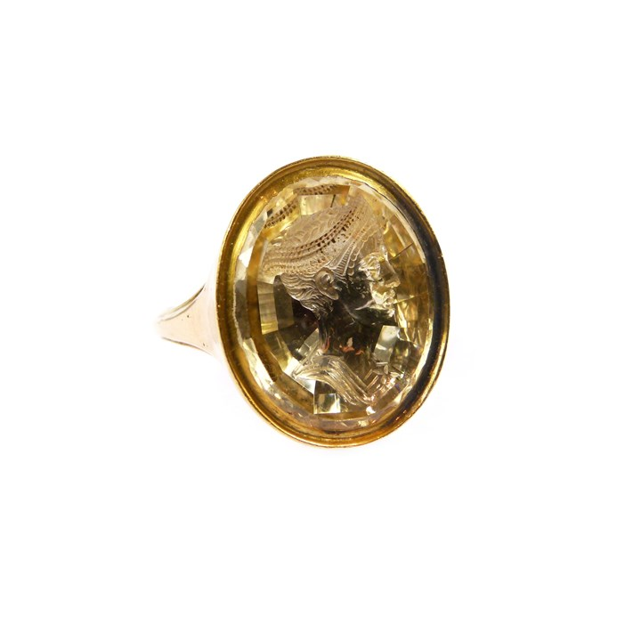 Late 18th century oval citrine intaglio and gold ring