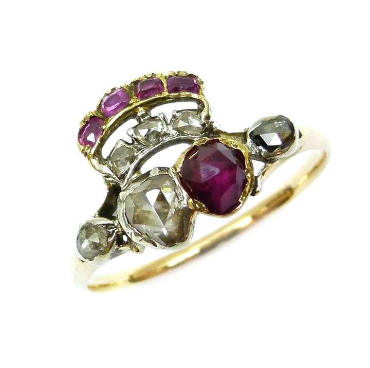 Late 18th century ruby and diamond twin heart and coronet ring