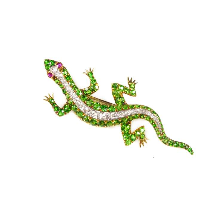 Late 19th century demantoid garnet and diamond lizard brooch