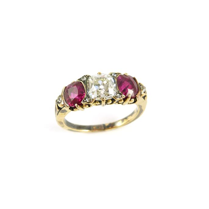 Late 19th century diamond and Burma ruby three stone ring | MasterArt