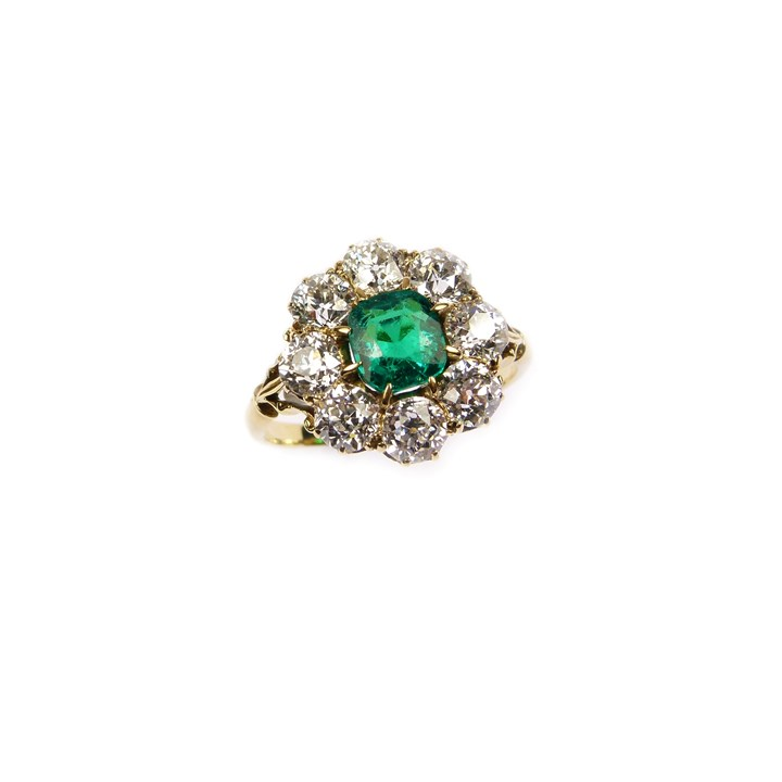 Late 19th century emerald and diamond cluster ring