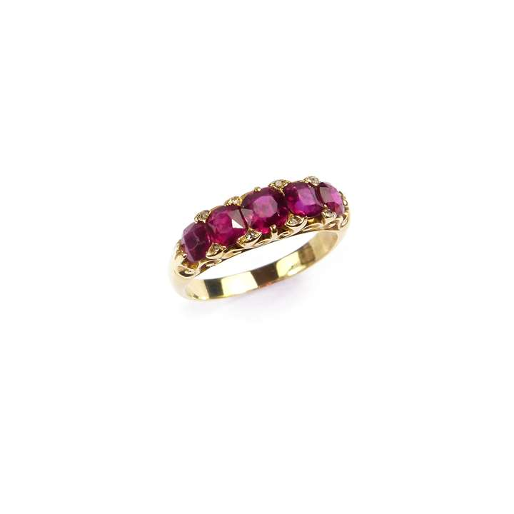 Late 19th century five stone ruby ring