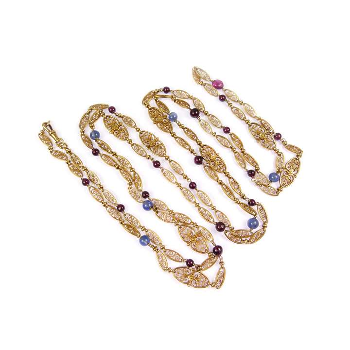 Gold, sapphire and garnet bead fancy link chain necklace