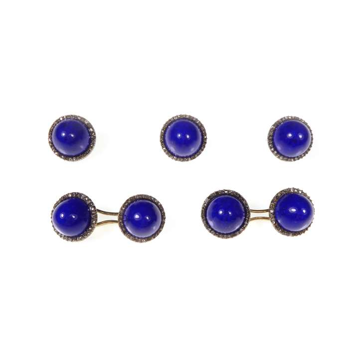 Lapis lazuli and rose cut diamond cluster gentleman's dress set, comprising a pair of cufflinks and three buttons,