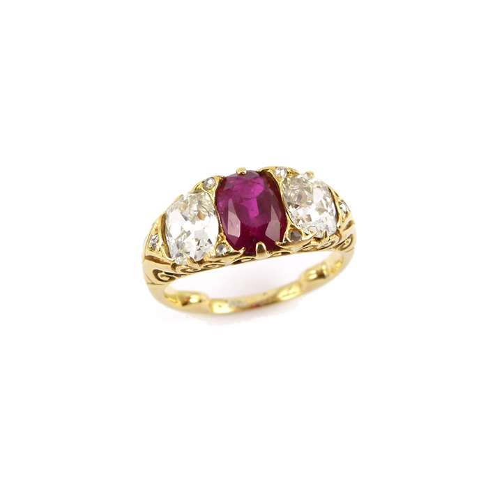 Late 19th century ruby and diamond three stone ring