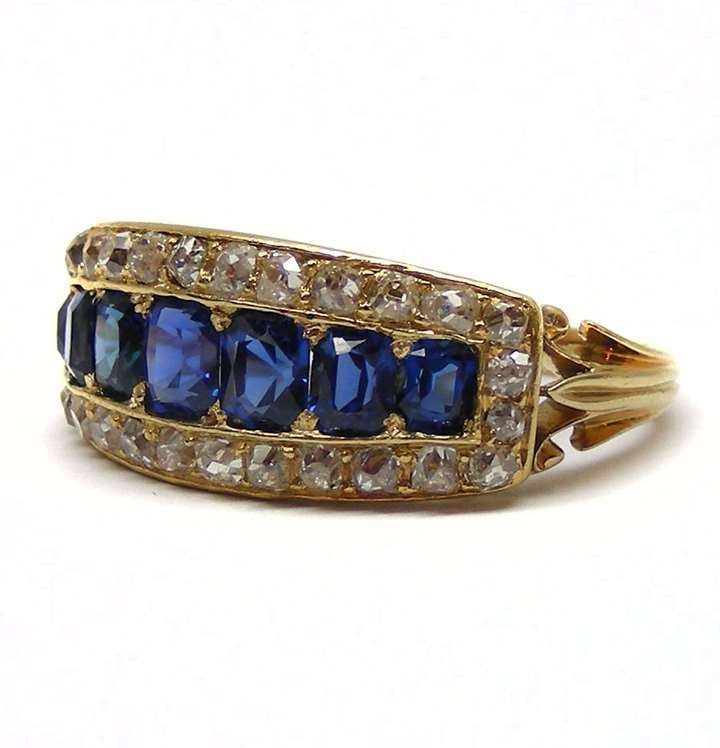 Late 19th century sapphire, diamond and yellow gold ring