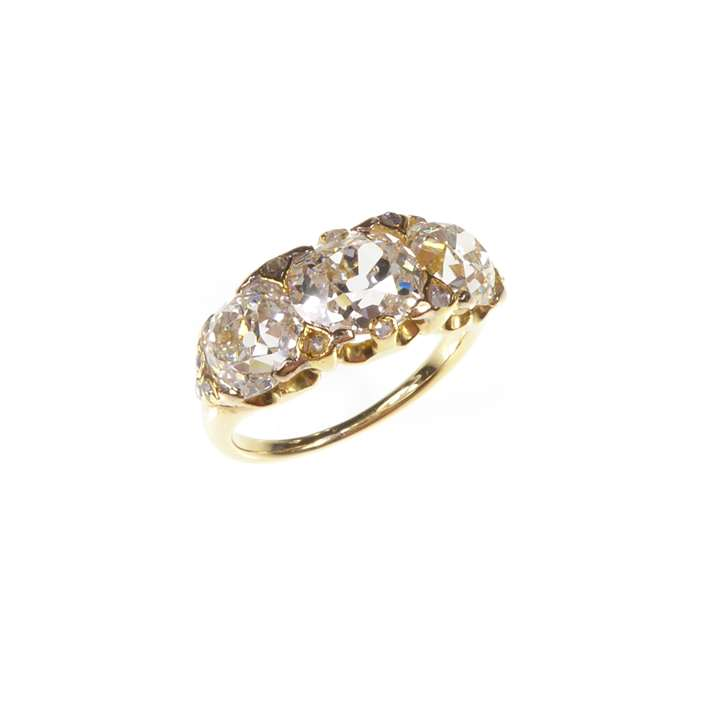 Three stone diamond ring, the old cut diamonds approximately 3.00cts in all