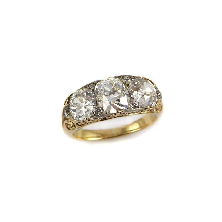 Late 19th century three stone diamond ring