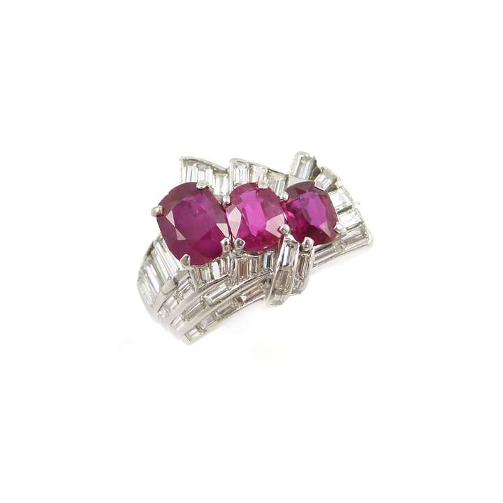 Late Art Deco three stone Burma ruby and baguette diamond cluster ring